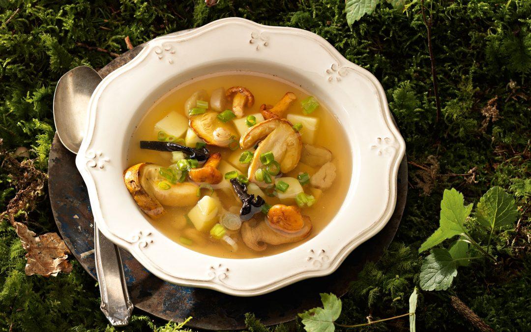 Klare Pilzsuppe mit Lauchzwiebeln und Maroni